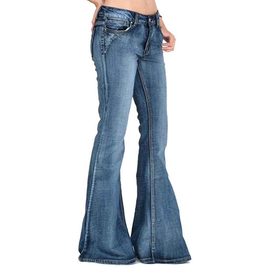 Casual Bellbottoms Women Sexy Jeans Big Flare Pants Denim Casual Long Trousers Elegant Female Wide Leg Stretchy Jean Pant New