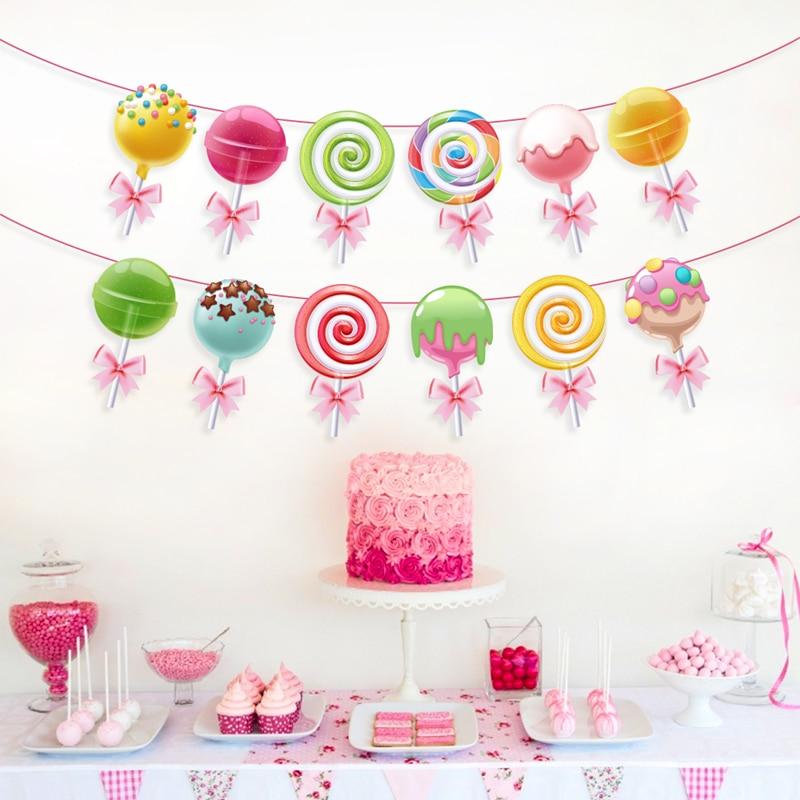 Baby Shower сладкий леденец День рождения выступает дети конфеты сахара украшения для вечеринок висит баннер для вечеринок Поставки
