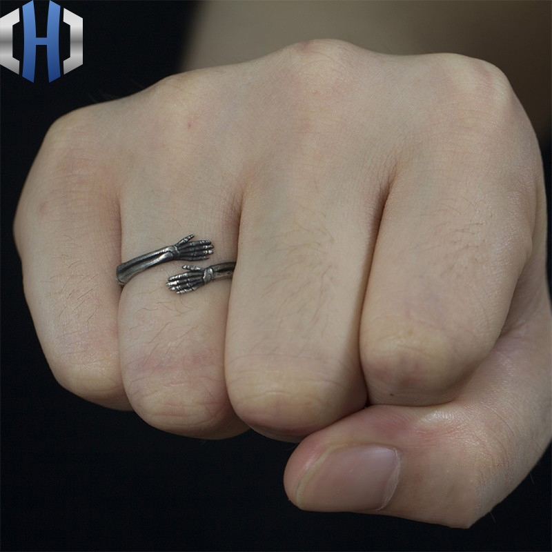 22mm Original Design Handmade Silver Jewelry Hug 925 Ring Personality Open Wild