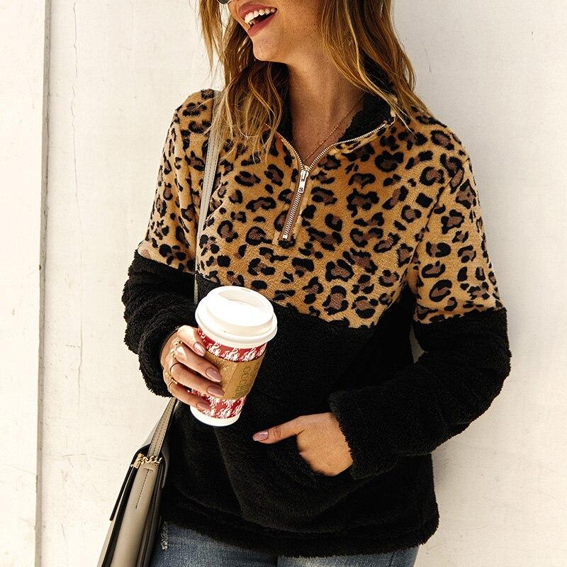 2019 Female Leopard Patchwork Sweatshirt Coats Autumn Winter Warm Thick Fleece Zipper Pockets Pullovers Fashion Tops Streetwear