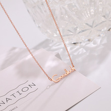 Ailodo Fashion Titanium Steel Necklace For Women Rose Gold Color Letter Goodluck Initial Lucky Jewelry Girls Gift LD403