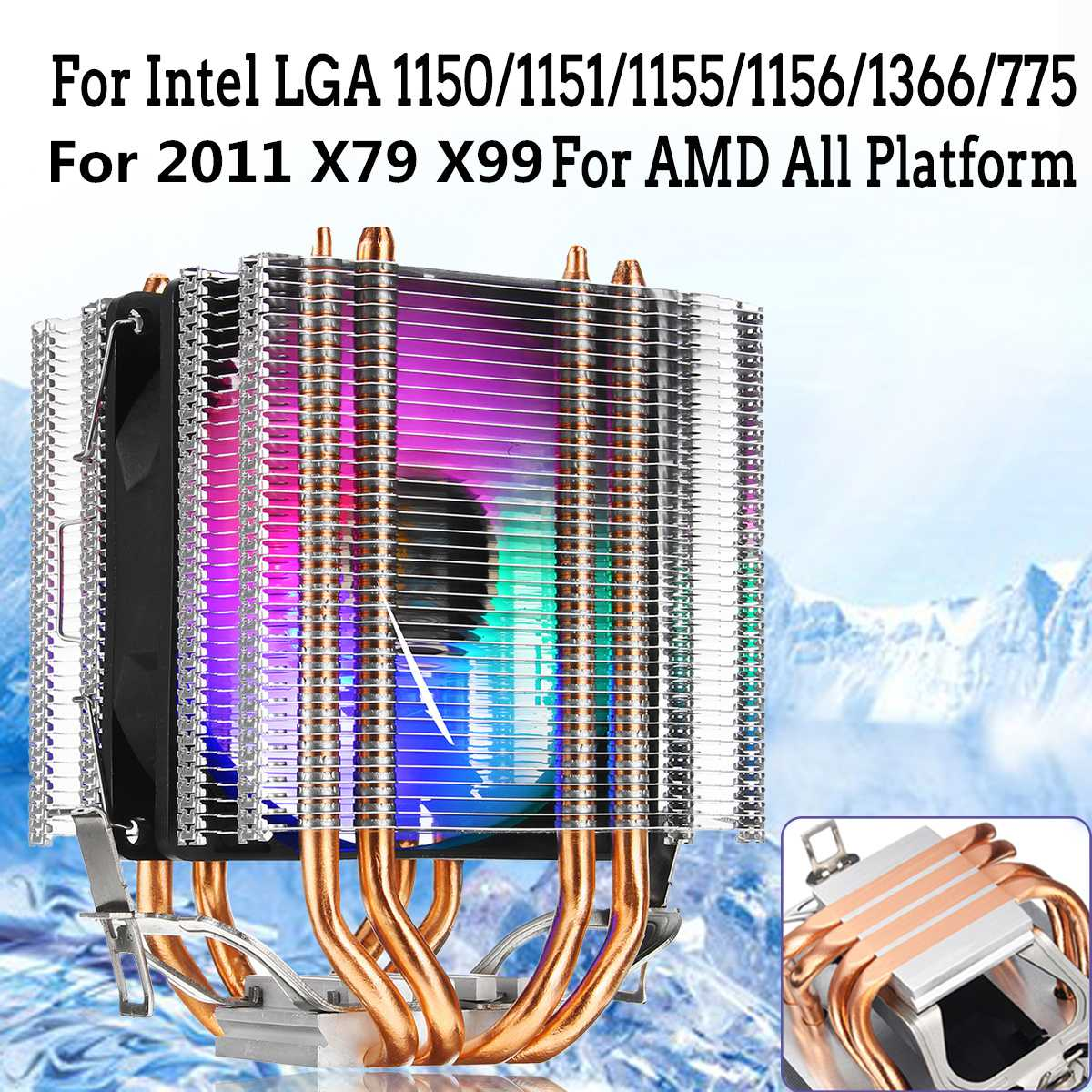 Cooler 2011 3Pin 4 Heatpipe Cooling Fan Dual Tower RGB CPU Cooler Heatsink For Intel X79 X99 775/115X/1366 and AMD For HUANANZHI