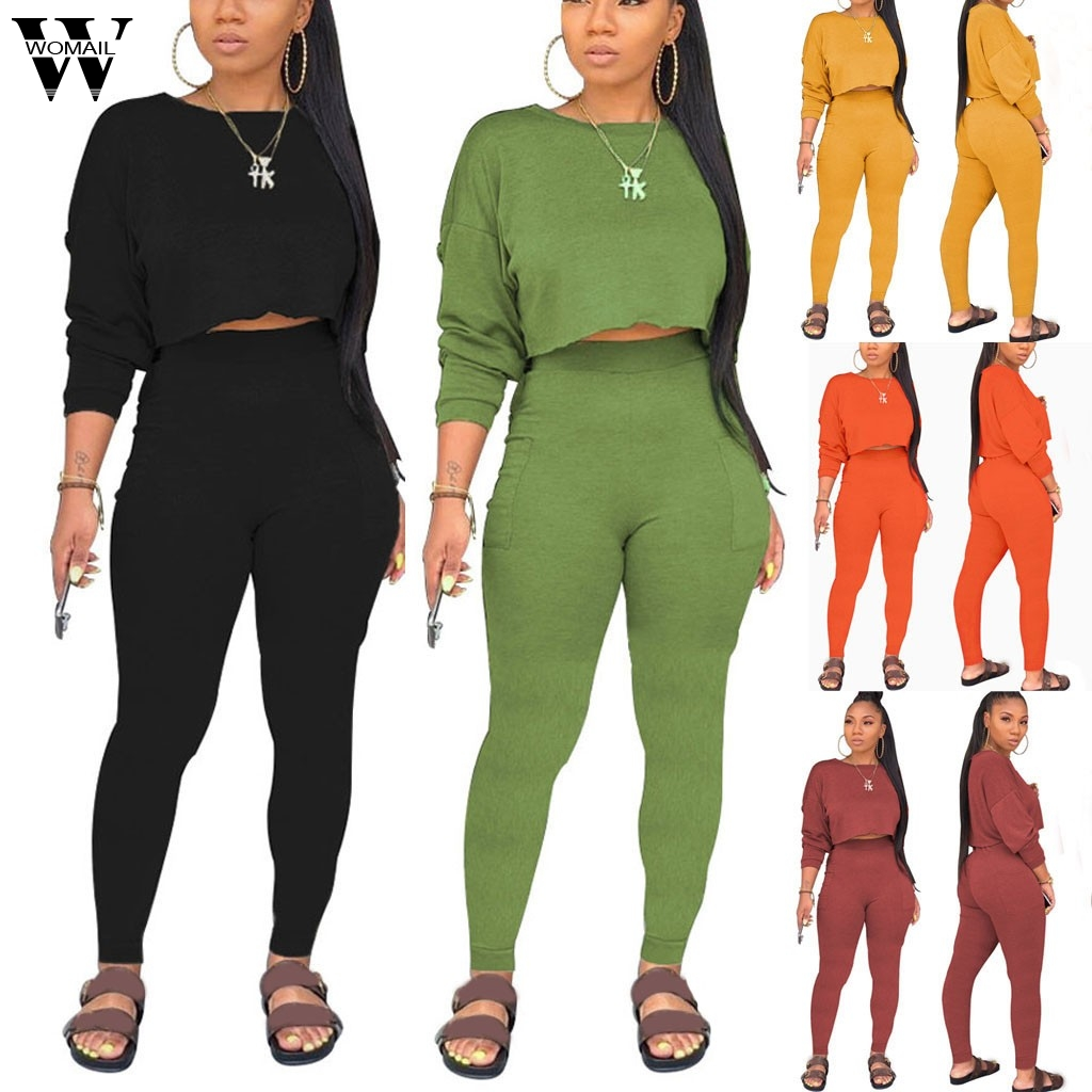 Womail Tracksuit Women Two Piece Set Sweatshirt Pant Long Sleeve Autumn New Female Sweatshirt Set Black Female Outfit Ropa Mujer