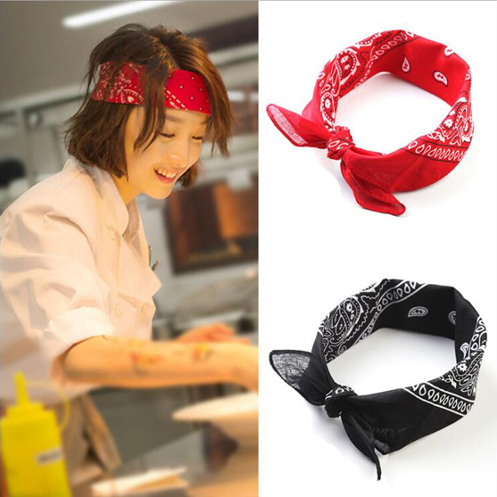 1PC Band Unisex Hip Hop Red Bandana Headwear Hair High Quality Neck Scarf Bandana Men Square Scarves Print Handkerchie