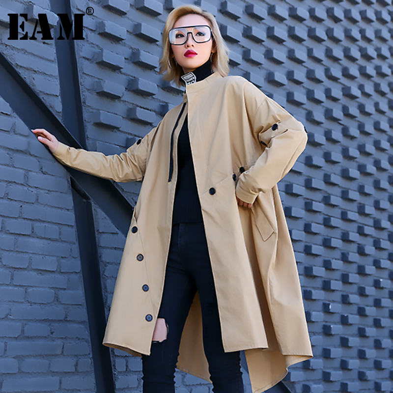 [EAM] Women Button Split Irregular Big Size   Trench   New Round Neck Long Sleeve Loose Fit Windbreaker Fashion Autumn 2019 1A449