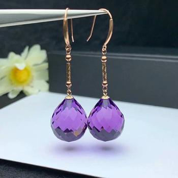 shilovem 18K yellow Gold Piezoelectric Amethyst stud earrings wedding fine Jewelry trendy  gift new 13*16mm  plantmyme1316832z 2