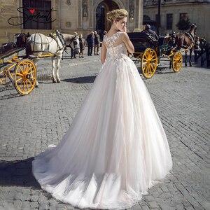 Image 4 - Baziingaa luxo vestido de casamento de seda organza apliques com decote em v sem mangas renda vestido de casamento suporte sob medida feito