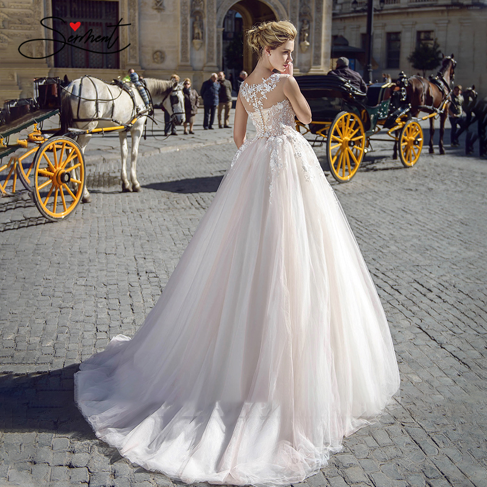 Image 4 - OllyMurs 2020 Luxury Wedding Dress Silky Organza Applique V neck Backless Sleeveless Lace Wedding Dress Support Tailor madeWedding Dresses   -