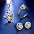 Нимфа Муассанит, подвеска, серьги, кольцо, комплект D Цвет круглый 925 стерлингового серебра Юбилей Женская тонкая бижутерия, подарок