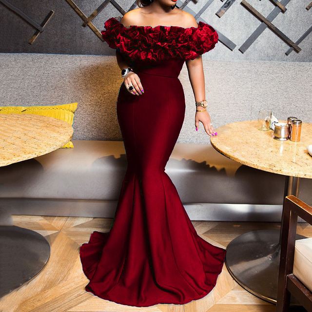 Sexy Off Shoulder Long Evening Party Dress Women Blue Bodycon Mermaid  Prom Dress Maxi African 2020 Summer Red Elegant Dresses 2