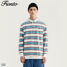 Fionto Men's 2019 Autumn New Retro Street Men's Joker Thick Stripe Loose Long Sleeve T-Shirt(China)