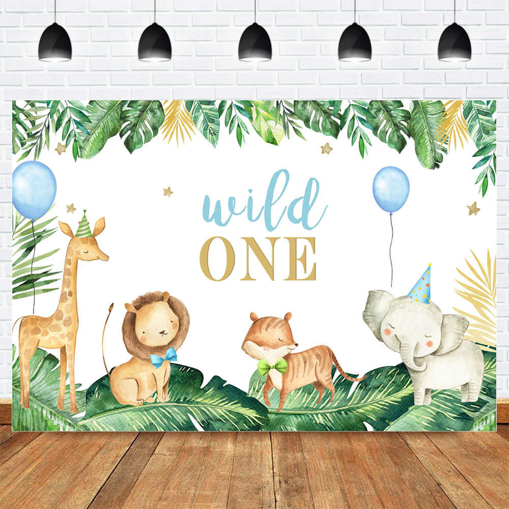 Wild One Cartoon Animal Birthday Photography sfondo Jungle Boy o Girl 1 ° compleanno sfondo palloncini foglie schermo verde