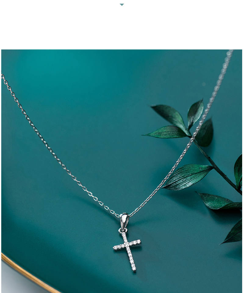 Genuine 925 Sterling Silver CZ Crystal Cross Pendant Choker Necklace For Women Girls Luxury Sterling Silver Jewelry Gift Bijoux (3)