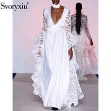 Svoryxiu créateur de mode automne hiver robe Maxi blanche femmes Super grande Sequin broderie manches col en v profond Sexy longue robe(China)
