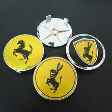 4 adet eşek Mustang tekerlek merkezi poyra kapağı 68mm oto jantlar kapak Caps amblem araba Styling için Ferrari
