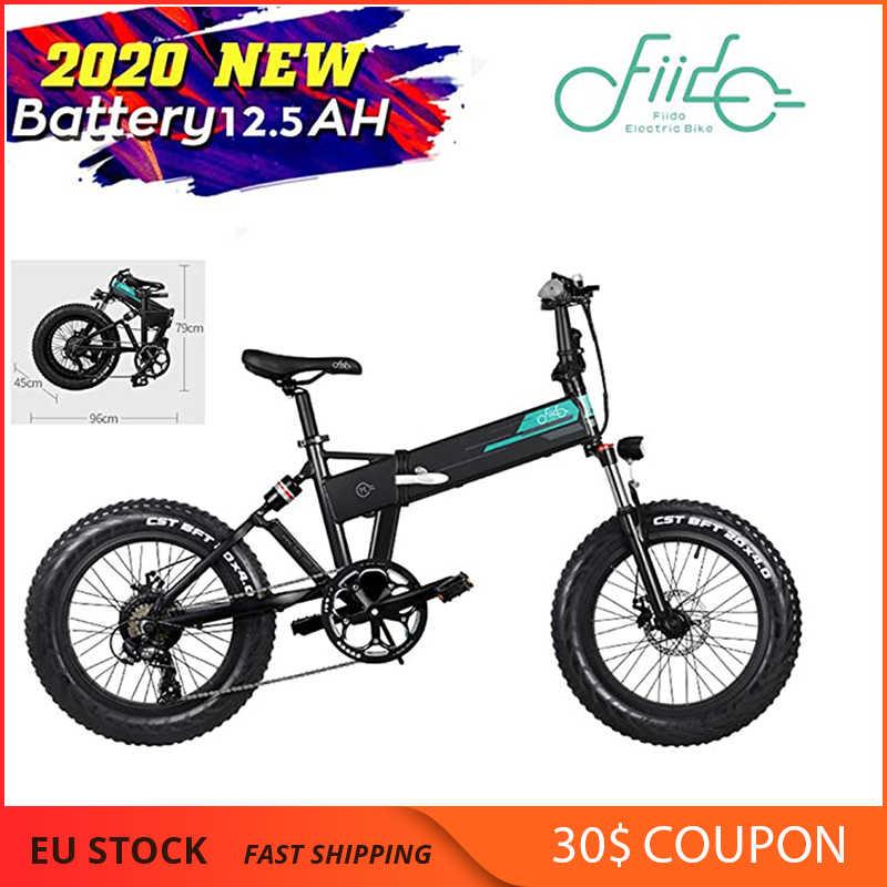 Fiido m1 bicicleta elétrica dobrável, pneus 4 Polegada gorda 20 '', motor de 250w, desviador de 7 velocidades bateria de lítio de 12.5ah