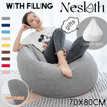 Nesloth Full Lazy BeanBag Sofas Chairs with Inner Liner&EPS Filler Lounger Seat Bean Bag Pouf Puff Couch Tatami Living Room Mini
