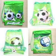 20 pçs 34*27cm tema de futebol tecidos não tecidos drawstring mochila saco de presente para crianças festa de aniversário favor