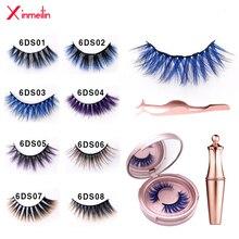 New 6D color magnetic false eyelashes magnetic liquid eyeliner eyelash curler reusable extension waterproof lasting makeup set
