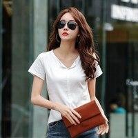 Nice Summer Women Solid Cotton T Shirt Harajuku V Neck Basic T Shirts Female Casual Tops Tee Short Sleeve T Shirt