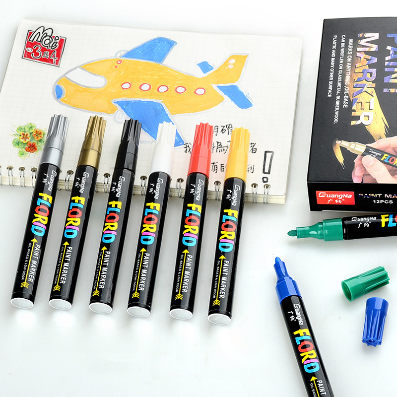 12/20 Colors Sets 2.8mm Metallic Marker Water-Based Acrylic Paint Markers for Stones Canvas Ceramic Glass Wood DIY Craft