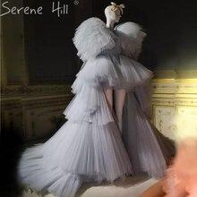 Nouveau gris asymétrique mode Simpe robes de soirée à plusieurs niveaux sans manches Sexy robes formelles 2020 sereine colline BHA2269