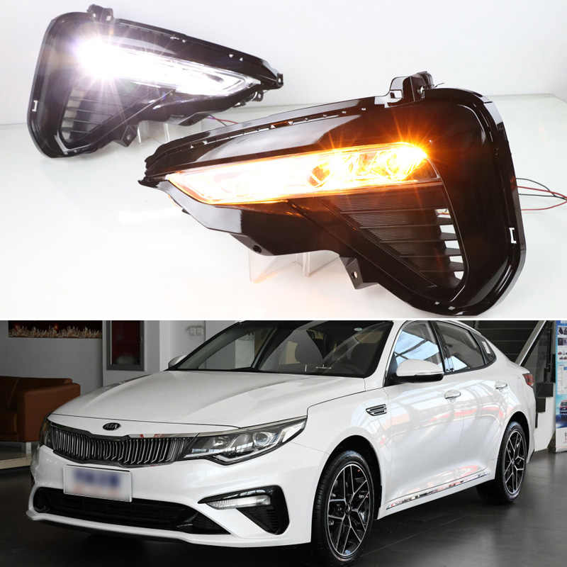 1 Pair Daytime Running Lights for KIA K5 2019 Optima Car DRL White Yellow Turn Signal LED Lamps Auto External Front Fog Light