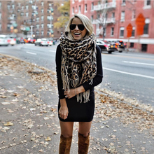 Brown Poncho Leopard Femme Women Winter Blanket Scarf Warm Soft Cashmere Thicken