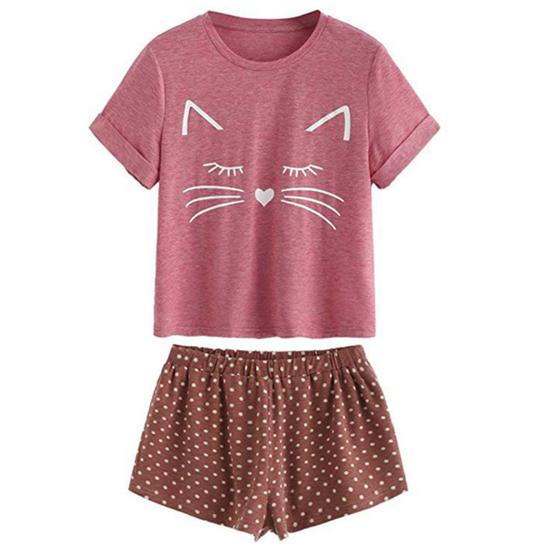 Women Pajamas set Summer Laides pajama suit Casual Short sleeve Sleepwear pajamas Cat sleepwear Nightwear Lingerie pajama set