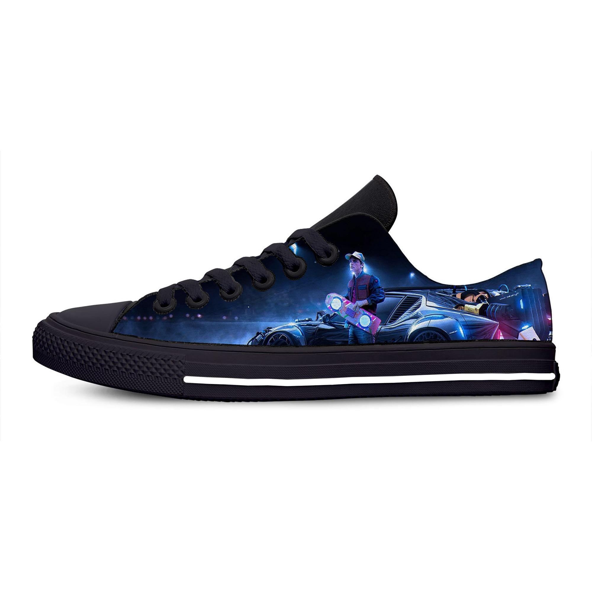 Забавные модные классические повседневные холщовые кроссовки с низким верхом из фильма Назад в будущее, легкие дышащие кроссовки с 3D принт...
