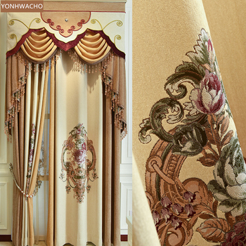 Custom curtains  high-grade single flower cashmere seamless stitching beige  cloth blackout curtain valance tulle panel C141