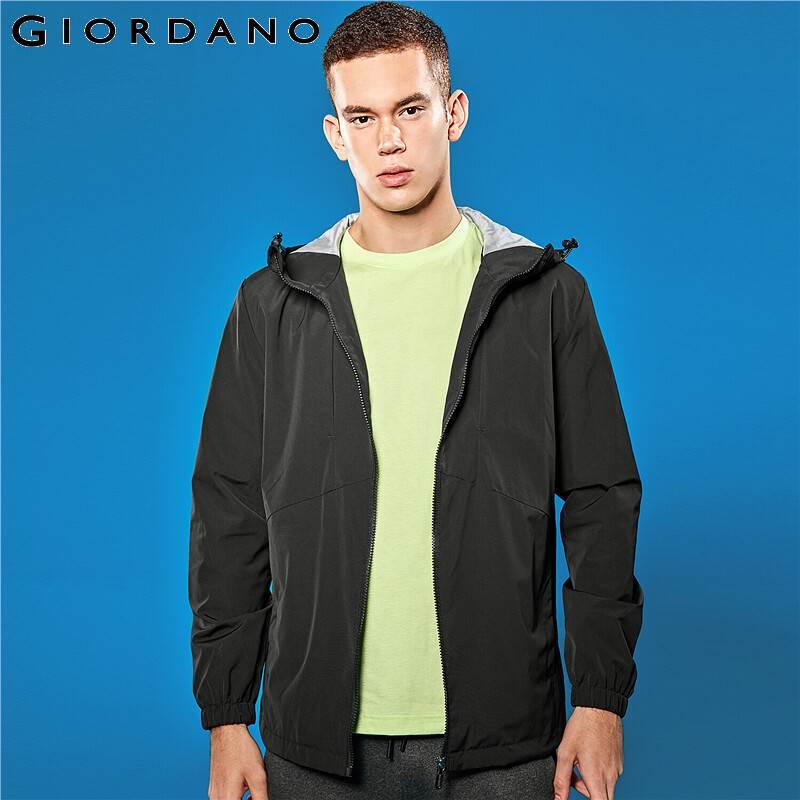 Giordano Men Jacket Contrast Lining Hooded Windbreaker Zip Front Jaqueta Masculino Windproof Corta Vento Masculino 01079747