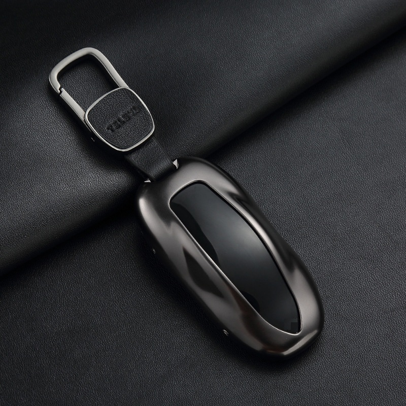 1Pcs  Car Key Case Cover With Belt Aluminum Alloy Key Shell Storage Bag Protector For Tesla Model S Model 3 Model X