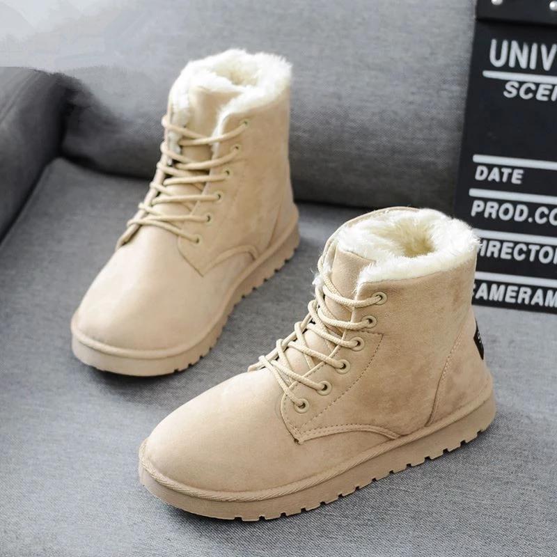 Women Winter Snow Boots Warm Flat Plus Size Platform Lace Up Ladies Women's Shoes New Flock Fur Suede Ankle Boots Female