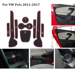 For 2018 2019 11-17 VW Polo 6R GTI Volkswagen Polo MK5 MK6 Accessories 3D Rubber Car Anti Slip Mat Interior Door Pad/Cup Mat