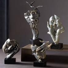 Nordic silêncio é uma figura de ouro rosto humano decoração resina retro arte criativa escultura estátua decoração para casa