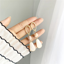 S925 silver needle water drop bohemian earrings with resin for women korean fashion gold jewelry wholesale
