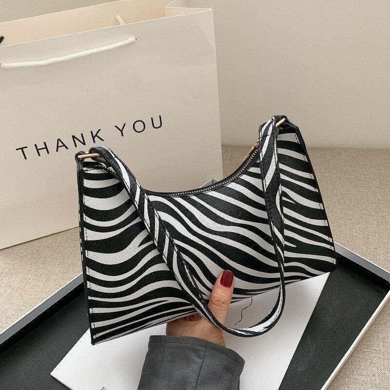 Модная женская Роскошная сумочка с принтом зебры, из искусственной кожи, простые Наплечные сумки для подмышек, женские повседневные Дизайн...