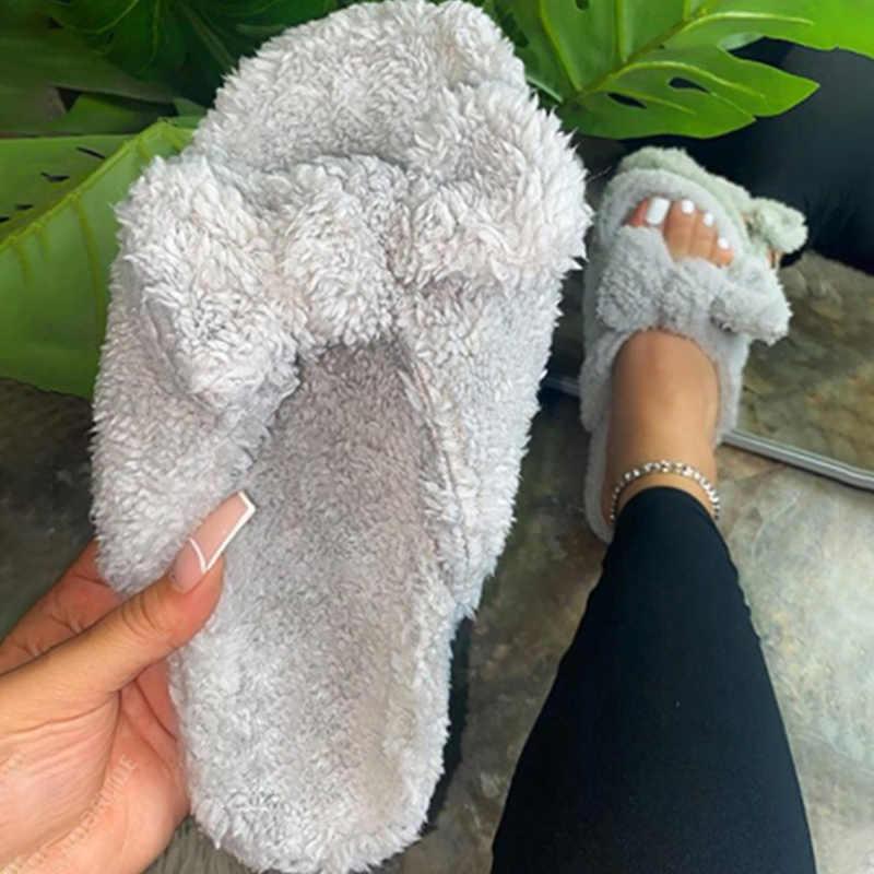 Ins Wanita Home Sandal Wanita Bow Tie Hangat Bulu Slide Wanita Nyaman Flats Fashion wanita Pendek Mewah Alas Kaki Plus ukuran 43