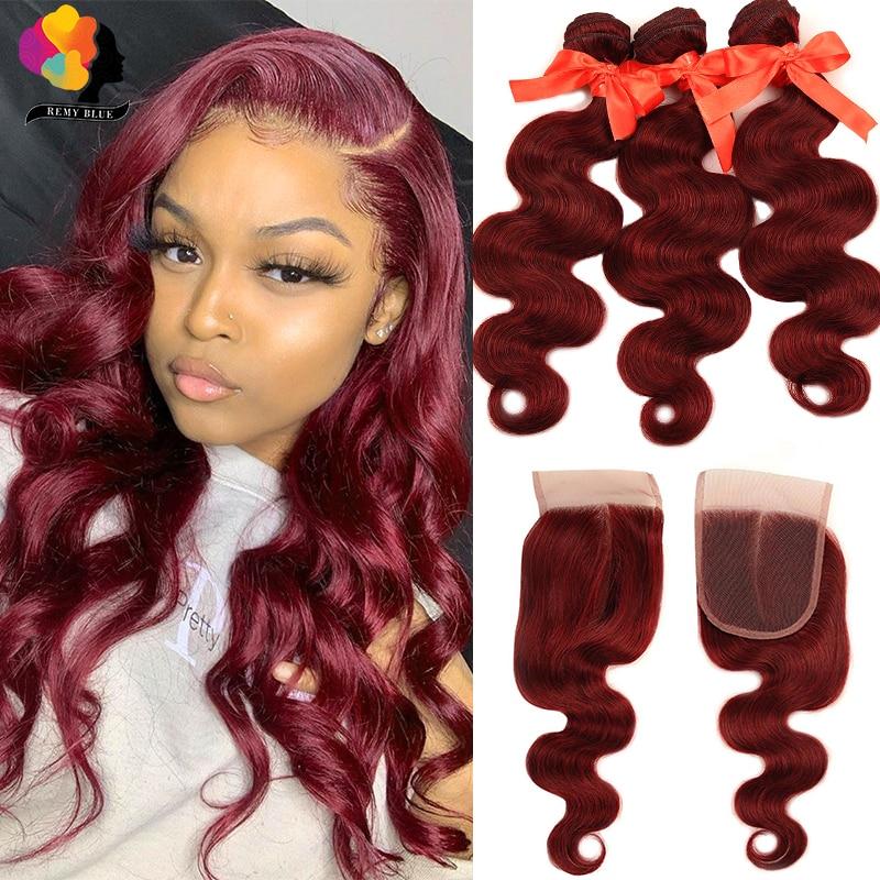 99J-mechones de cabello humano con onda de cuerpo peruano, extensiones de cabello humano mechones con cierre de encaje, cabello Remy sin enredos, color rojo borgoña