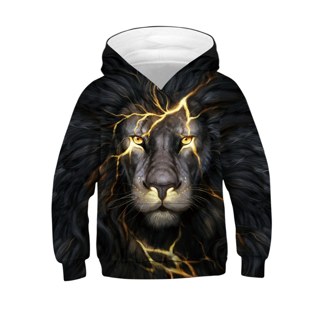 Wolf Tiger 3D Print Boys Hoodies Teens Spring Autumn Outerwear Kids Hooded Sweatshirt Clothes Children Long Sleeve Pullover Tops 4