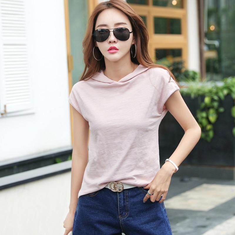 Camisas Femininas 2021 T Shirt Hooded T Shirt Women Short Sleeve Summer Tops Vetement Femme Tshirt Plus Size Poleras De Mujer|T-Shirts| - AliExpress