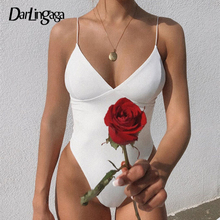 Darlingaga Deep V Neck Strap Fashion Sexy Bodysuit Summer Elegant Black Sheer Bo
