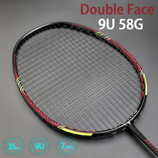 Double Face Max Tention 35LBS Ultralight 9U 58g Badminton Rackets Strung 100% Carbon Fiber Offensive Racquet Speed Sports