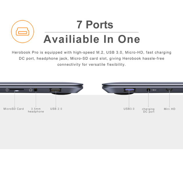 CHUWI HeroBook Pro 14.1Inch Laptop Intel Gemini lake N4020 Dual core 8GB RAM 256GB SSD Windows 10 computer Full Layout Keyboard 6