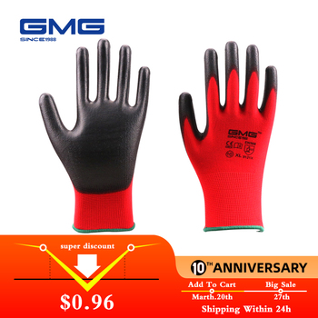 Gorąca sprzedaż GMG CE certyfikowany EN388 czerwony poliester czarny PU rękawice ochronne mechaniczne rękawice robocze tanie i dobre opinie GMG SINCE 1988 Polyurethane PP-1821 PU Gloves 7-11 S-XXL Polyester China Welcome General Purposes Work Gloves Working Gloves