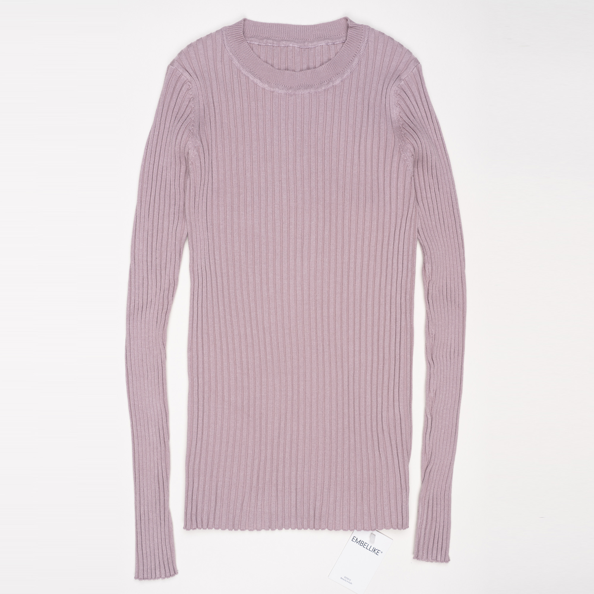 Women Sweater Pullover Basic Ribbed Sweaters Cotton Tops Knitted Solid Crew Neck With Thumb Hole 18