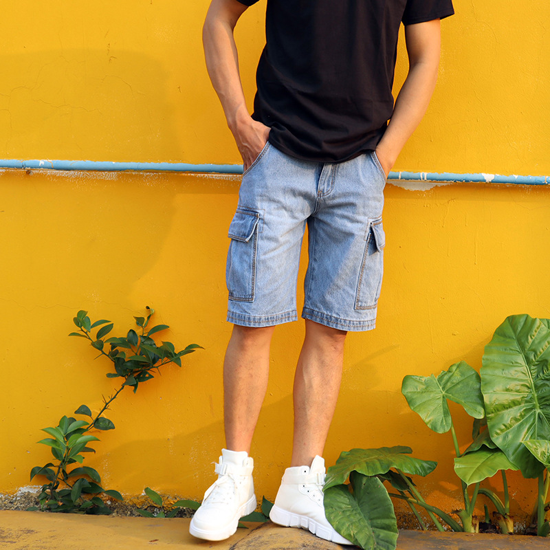 2019 Summer New Style MEN'S Jeans Shorts Straight-Cut Loose-Fit Big Mouth Bag Weight Craft Good Quality Shorts Men's