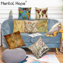 World Map Printed Cushion Cover Vintage Map Pattern Throw Pillow Cover Linen Cotton Home Decor Square Pillowcase for Car Sofa retro world map pattern flax square shape pillowcase without pillow inner