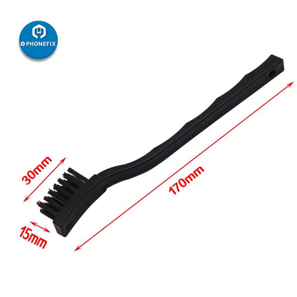 PHONEFIX 17cm Black Brush PCB Rework ESD Anti-static Dust Brush For Mobile Phone Tablet PCB BGA Repair Soldering Assistant Tools